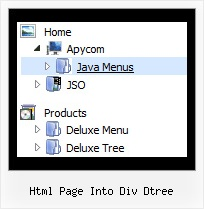 Html Page Into Div Dtree Tree Drop Down