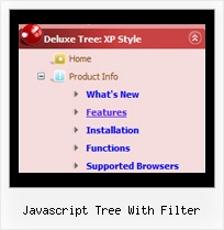 Javascript Tree With Filter Pull Down Menu Tree