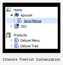 Sitecore Treelist Customization Tree Rollover Drop Down Menus