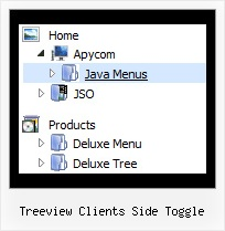 Treeview Clients Side Toggle Tree Drop Menu Bar