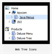 Web Tree Icons Slide Menu Down Tree