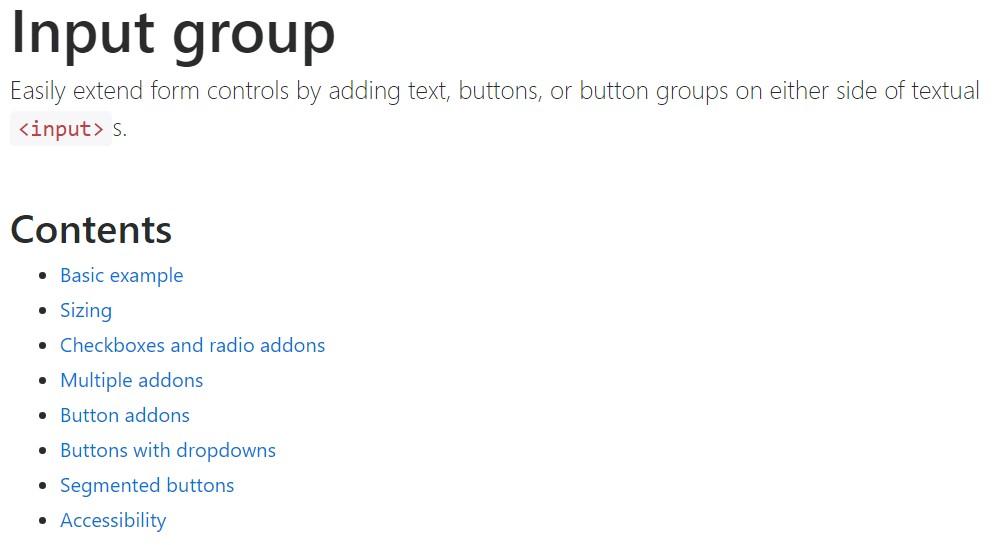 Bootstrap input  authoritative documentation