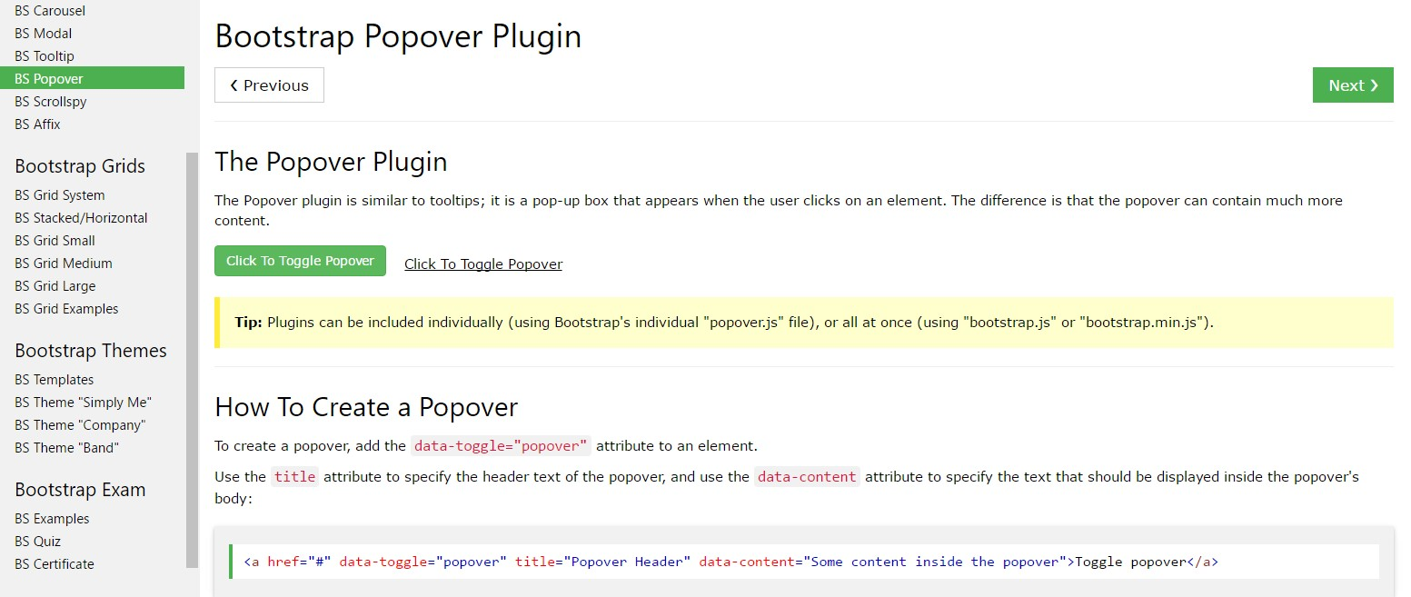 Bootstrap popovers tutorial