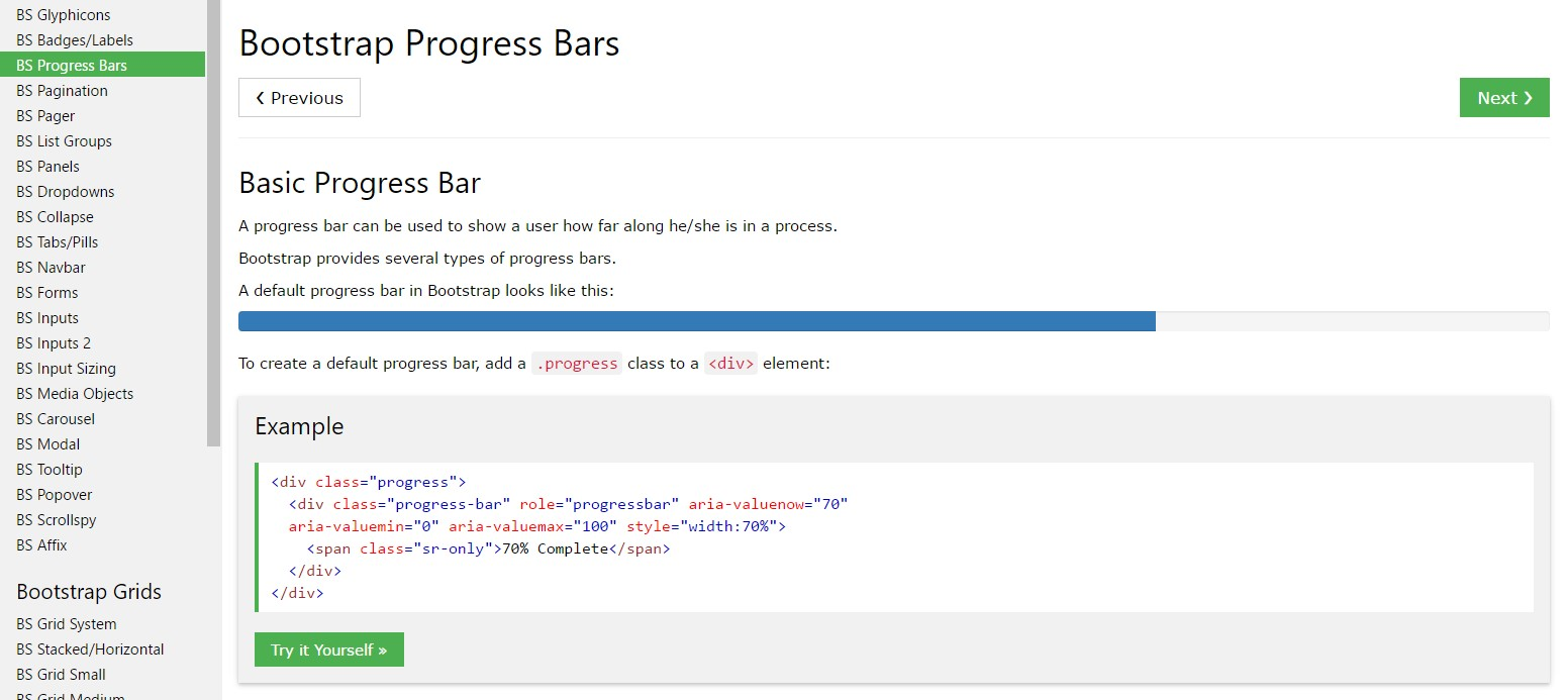 Bootstrap progress bar  training
