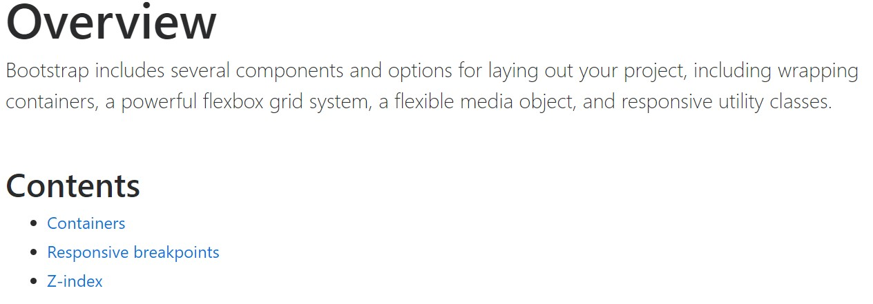 Bootstrap layout  formal documentation