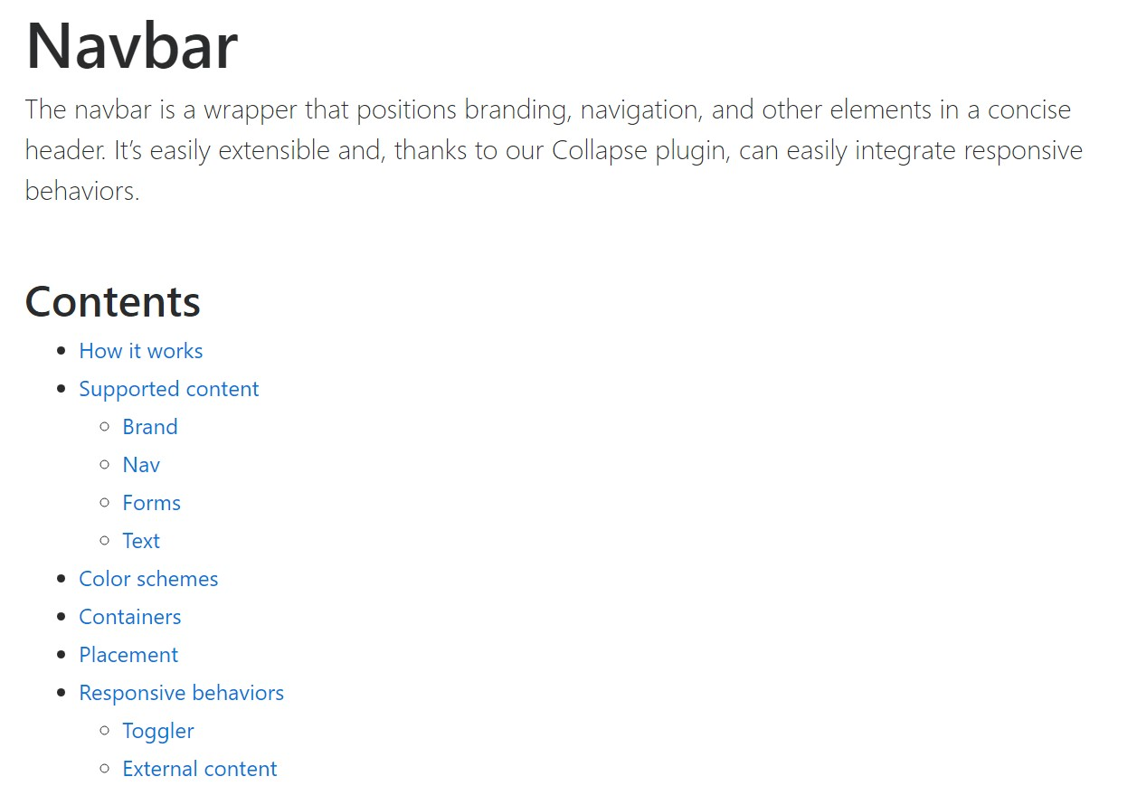 Bootstrap Navbar  formal  documents