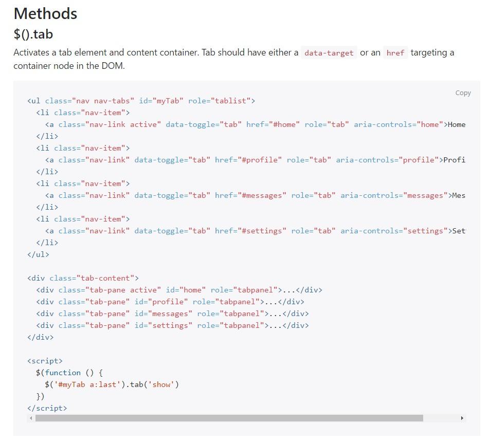 Bootstrap Nav-tabs:official  information