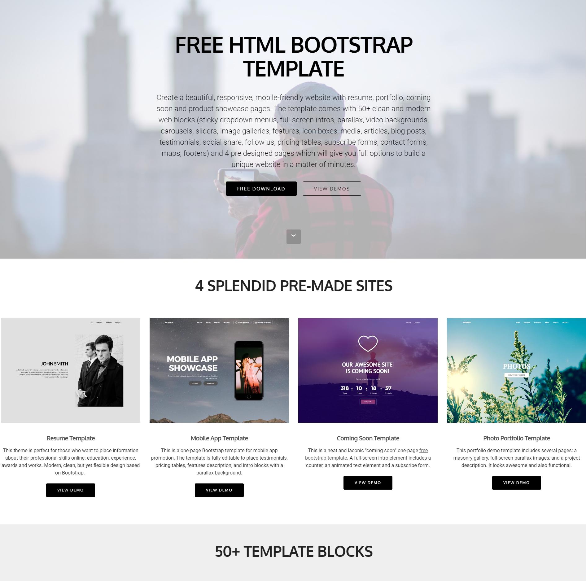 HTML5 Bootstrap 4 Blocks Themes